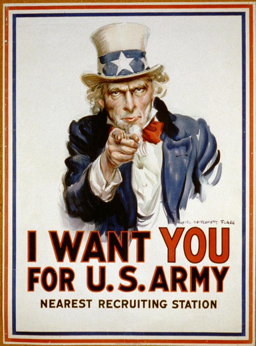 We want you ! Publicité recrutement pour US Army
